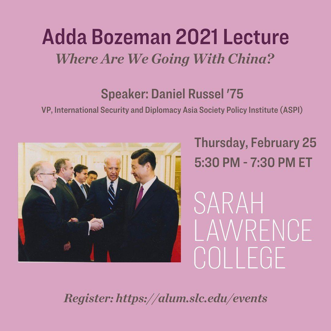 Join us for this year's Adda Bozeman Lecture, featuring career diplomat Daniel Russel '75 for a conversation about the challenges the new administration faces abroad. Register at the link in bio or through our story #sarahlawrencetogether