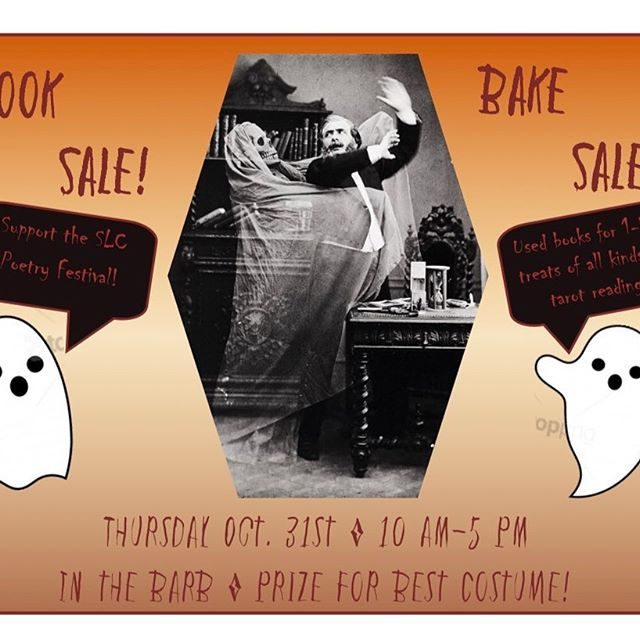 👻 it's that time of the year again 👻 Come celebrate Spooktober (or dare we say Booktober 👀) with books & bakes! We'll be outside the Barbara Walters Campus Center from 10am-5pm on Oct 31st. Drop by for used books going from $1-5, baked treats, and a tarot reading... if you dare 😈😈😈 #slcpoetryfest