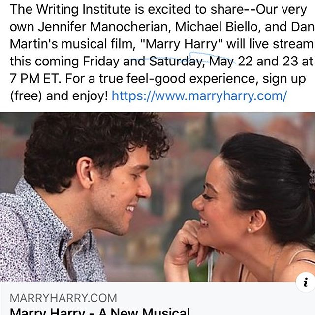 We're excited to share--Our very own Jennifer Manocherian, Michael Biello, and Dan Martin's musical film, Marry Harry will live stream this coming Friday and Saturday, May 22 and 23 at 7 PM ET. For a true feel-good experience sign up (free) and enjoy! https://www.marryharry.com/ @marryharrymusical  #musical #livestream #marryharry