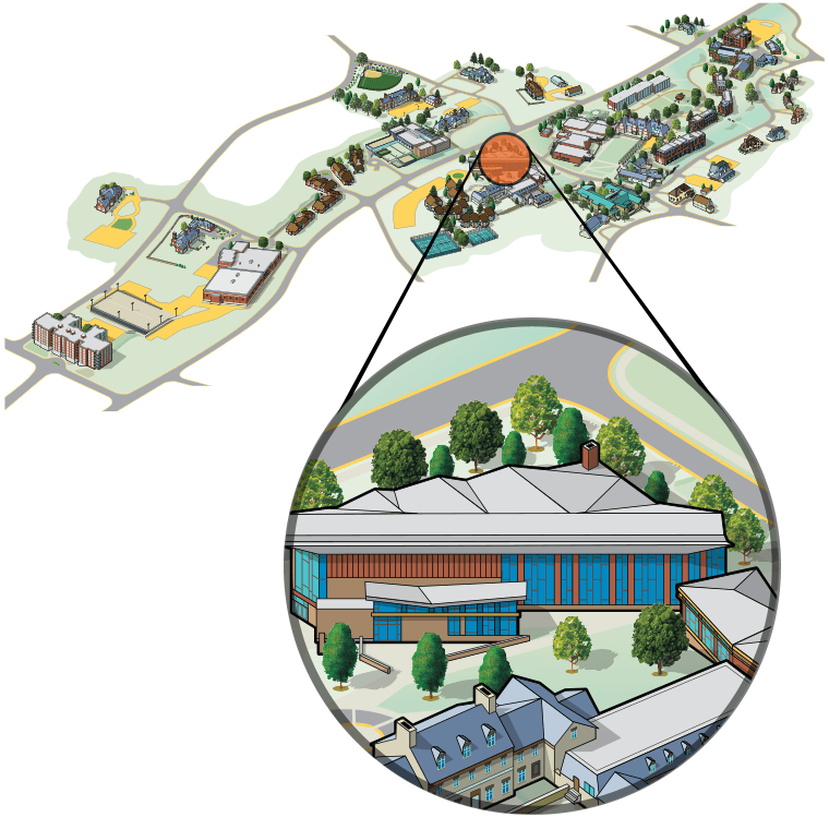 Illustrated aerial view of campus highlighting the Barbara Walters Campus Center