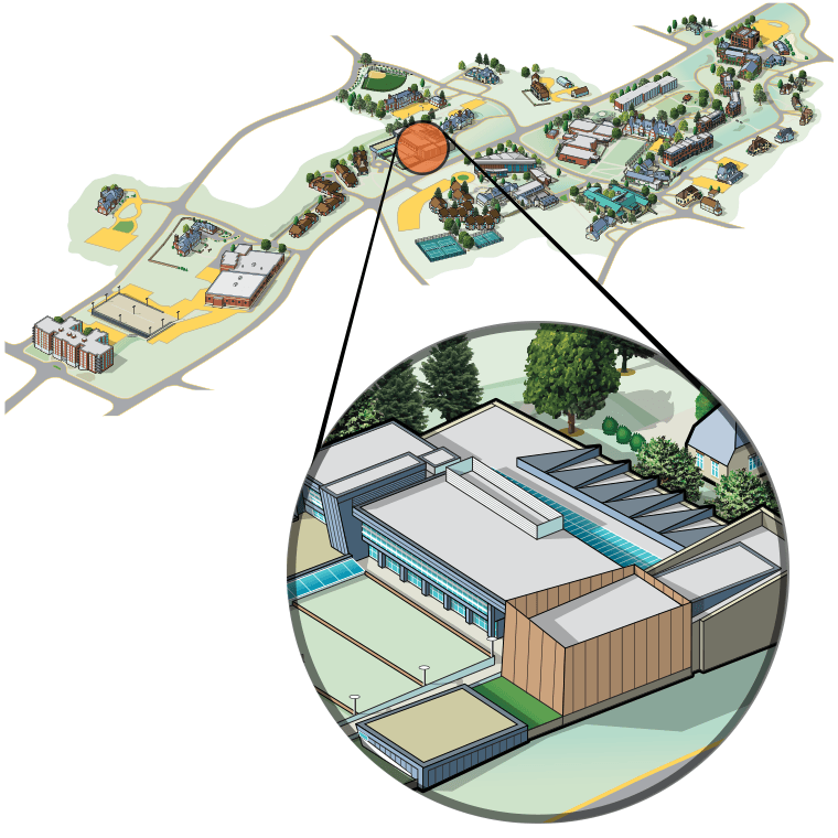 Illustrated aerial view of campus highlighting the Visual Arts Center
