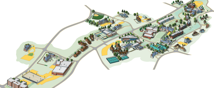 Illustrated aerial view of campus