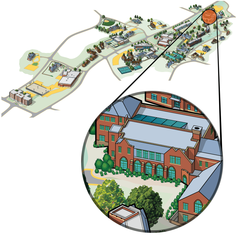 Illustrated aerial view of campus highlighting Bates