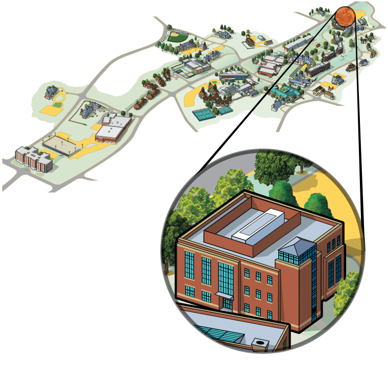 Illustrated aerial view of campus with Science Center highlighted