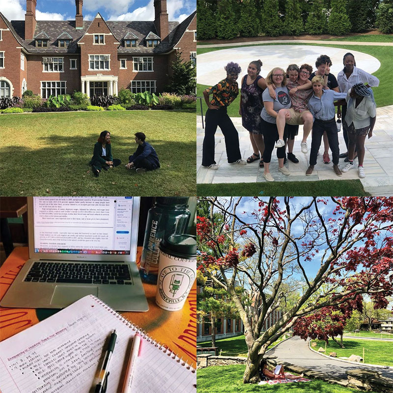 Photos of scenery and students on campus