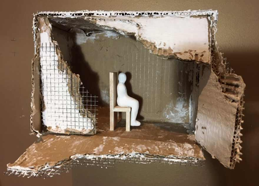 Art Installation, Dwelling IV with seated figure