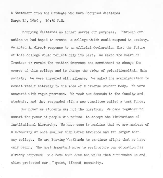 A Statement from the Students who have Occupied Westlands, March 14, 1969. (Sarah Lawrence College Archives)
