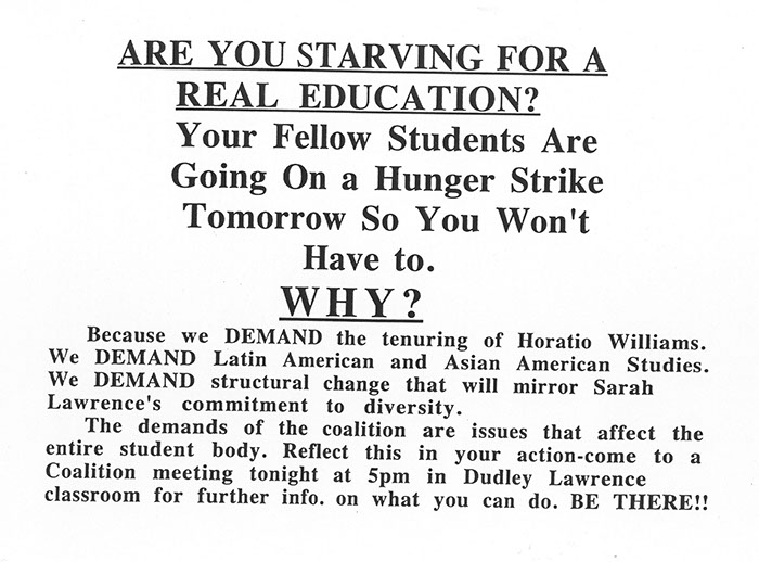 Hunger Strike Announcement, May 1994. (Sarah Lawrence College Archives)