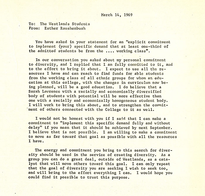 Statement from the Administration in response to the demands from the occupants of Westlands, March 14, 1969. (Sarah Lawrence College Archives)