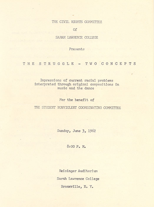 Program from The Struggle: Two Concepts, June 3, 1962 (Sarah Lawrence College Archives)