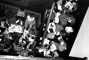 Students at the Westlands Sit-In, March 1989. Photographer Unknown. (Sarah Lawrence College Archives)