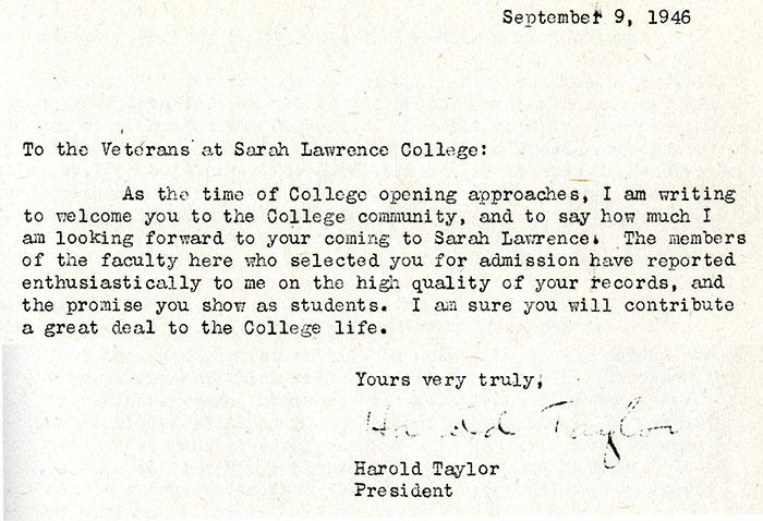 Harold Taylor Letter to Veterans.  September 9, 1946. (Sarah Lawrence College Archives)