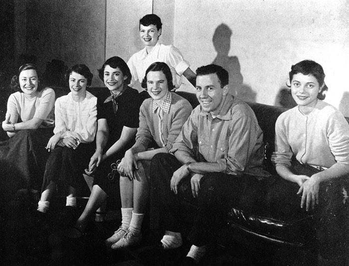 Student Group Hits and Misses. Sarah Olmstead B.A. '50, M.A. '72, Carol Wilkins '50, Joan Gilbert '53, Anne Williams '52, Audrey Von Clemm '51, Jack Barnes '50, Joan McLellan '50. Sarah Lawrence College Yearbook 1950. Photographer Unknown.