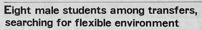 Headline from the student newspaper The Emanon, February 19, 1969.