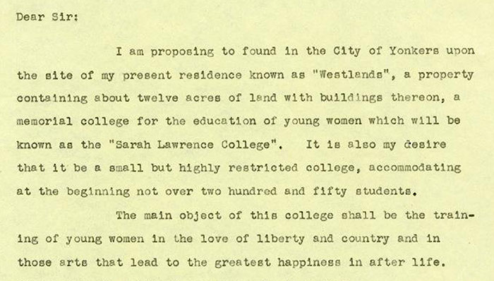 William Van Duzer Lawrence's Letter of Instruction, 1926. (Sarah Lawrence College Archives)