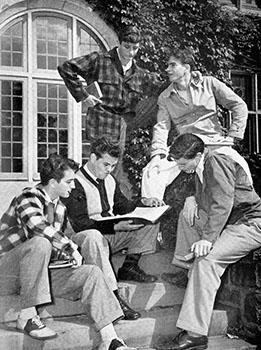 Veterans in front of Westlands, 1946. (l-r) top - Donald Fortini, John Miller. Bottom - Brad Fuller, Joseph Walter, Wells Klein. Sarah Lawrence Alumnae/i Magazine.