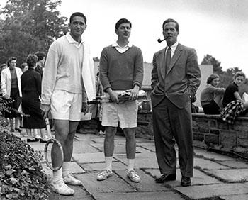 President Harold Taylor (far right) at Westlands, n.d.. Photograph by Gilman.