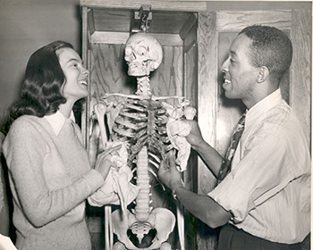 (l-r) unidentified student and Garvel Booker, 1949. Photographer Unknown.