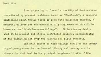 """William Van Duzer Lawrence's """"Letter of Instruction,"""" 1926. (Sarah Lawrence College Archives)"""