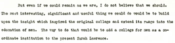 Harold Taylor Report to the Trustee-Faculty Committee on Planning and Finance. September 24, 1956. (Student Life Subject Files)