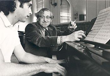Unidentified Student with Edmund Haines, Music Faculty, 1948-1974. Photographer Unknown.
