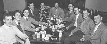 "Veterans John ""Jack"" Barnes, '50, Robert Paty '50, Jerome Weiss '50, Arthur Edelman '50, George Young '50, Hunt Richardson '50, Charles Durfee '49, Roger Hall '51, Henry Wolff '51, Ralph Kilsheimer '51. Sarah Lawrence College Yearbook, 1950."
