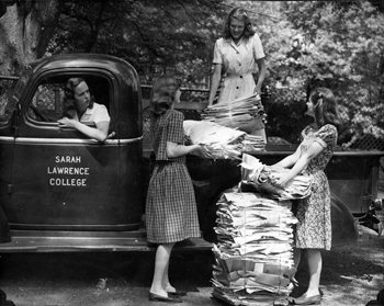 Students collecting recycled newspapers to support the war effort during World War II. Photographer unknown. Copyright Sarah Lawrence College Archives.