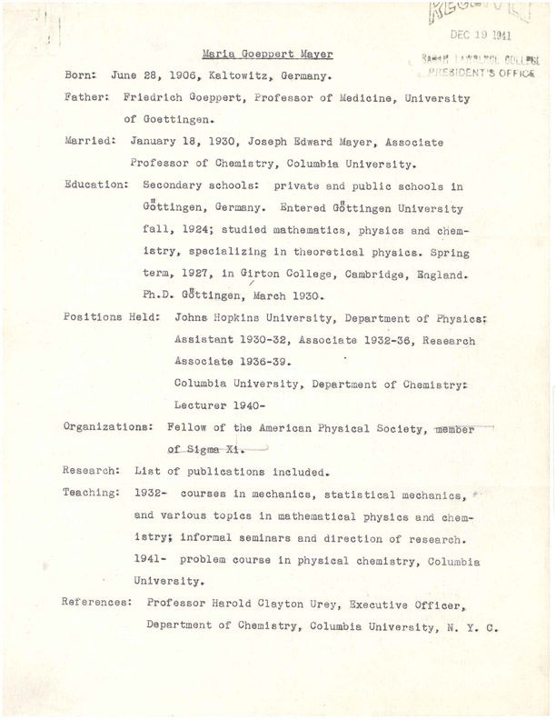 Maria Goeppert Mayer's Curriculum Vitae. Courtesy of the Sarah Lawrence College Archives.