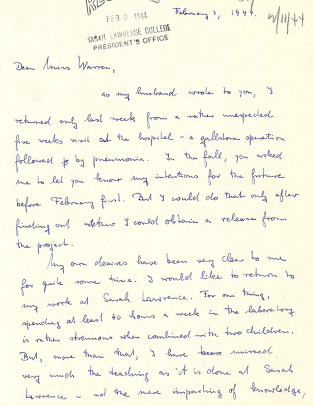 Maria Goeppert Mayer to Constance Warren, February 7, 1944, page 1. Courtesy of the Sarah Lawrence College Archives.