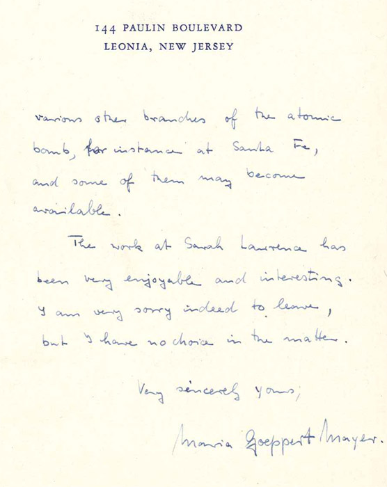 Last page of Maria Goeppert Mayer's resignation letter to Harold Taylor, August 15, 1945. Courtesy of the Sarah Lawrence College Archives.