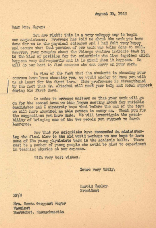 Harold Taylor to Maria Goeppert Mayer accepting her resignation, August 20, 1945. Courtesy of the Sarah Lawrence College Archives.