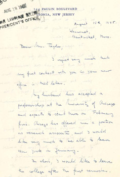 First page of Maria Goeppert Mayer's resignation letter to Harold Taylor, August 15, 1945. Courtesy of the Sarah Lawrence College Archives.