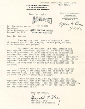 Harold C. Urey to Constance Warren, September 22, 1943. Courtesy of the Sarah Lawrence College Archives.