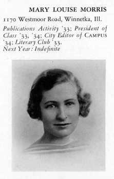 Mary Louise Morris 1934 Yearbook Photograph. Courtesy of the Sarah Lawrence College Archives.