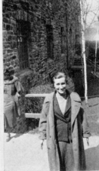 Mary Morris walking on campus as captured in the 1934 yearbook. Courtesy of the Sarah Lawrence College Archives.