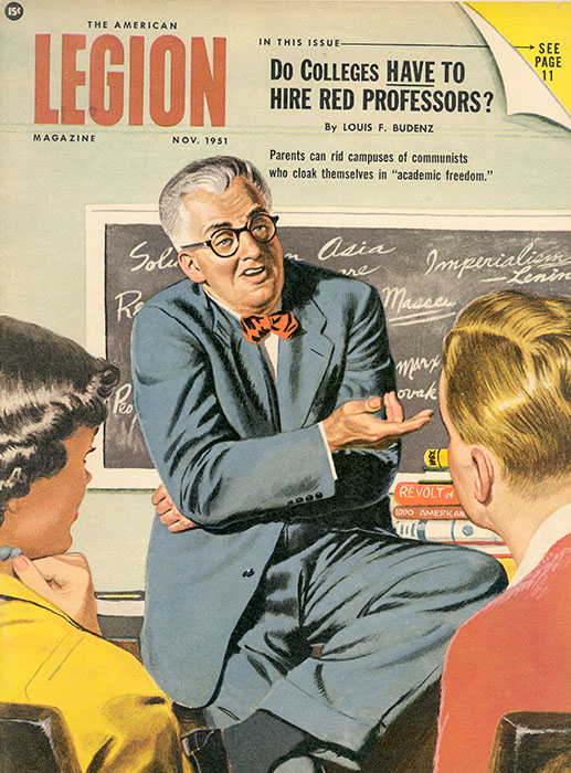 """Louis Budenz's article, """"Do Colleges Have to Hire Red Professors?"""" was the first publication listing Sarah Lawrence College as hiring Communist professors. Soon after this article was published, the Americanism Committee of the American Legion began targeting Sarah Lawrence faculty members. November, 1951. (Harold Taylor Papers, Sarah Lawrence Archives)"""