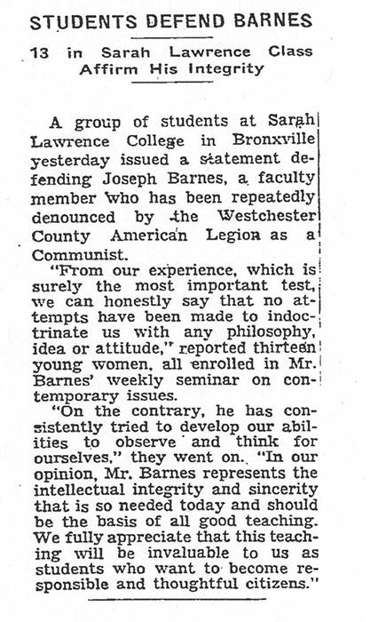 New York Times, April, 1952.