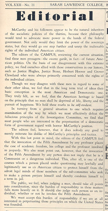 (The Campus, April 13, 1953, pg. 1, Sarah Lawrence Archives)