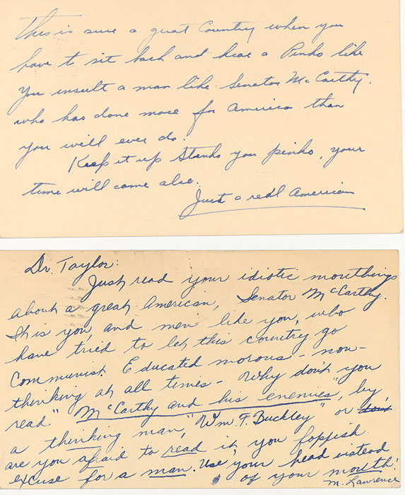 Two examples of hate mail received by President Taylor and  the College, 1954. (Harold Taylor Papers)