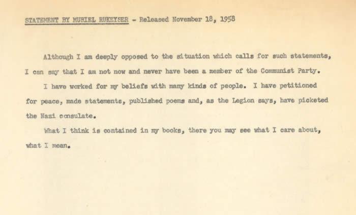 Muriel Rukeyser Faculty File