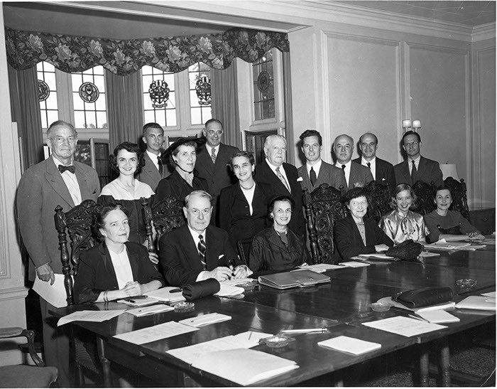 The Board of Trustees at the Annual Spring Meeting, May 21, 1951. Standing (left to right): Harrison Tweed, Anne Hobler, William V. Lawrence II, Catherine Drinker Bowen, Walter Rothschild, Esther Raushenbush, Charles Sperry Andrews, Harold Taylor, Charles P. Curtis, Jr., Lloyd Garrison, Francis Keppel. Seated (left to right): Helen Merrell Lynd, Burton P. Fowler, Peggy Thayer Talbott, Mary B. Ladd, Barbara Smith Abramson, Faith Ziesing.