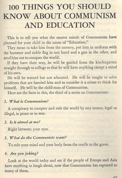 """""""100 Things You Should Know about Communism and Education"""" is one example of a series of publications by the House Committee on Un-American Activities available to the public in 1951."""