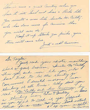 """Two examples of """"hate mail"""" received by President Taylor and the College, 1954. (Harold Taylor Papers)"""