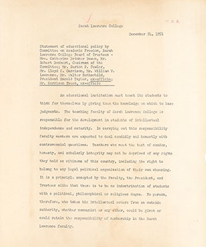 Trustee Committee on Academic Freedom, December 24, 1951. (Sarah Lawrence Archives)