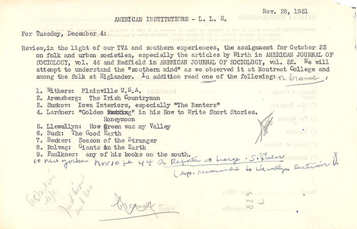 Course assignment before the trip, October 31, 1951.