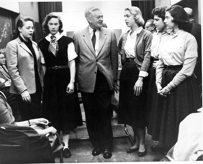 Students meet Dr. Raymond R. Paty (Director of Tennessee Valley Authority), 1955. (l-r): Jean Perkins, '58, Beryl Forbes, '58, Ray Paty, Mary Elizabeth Sellers '58, Jacqueline Cashman '58, and Cynthia Robinson '58.