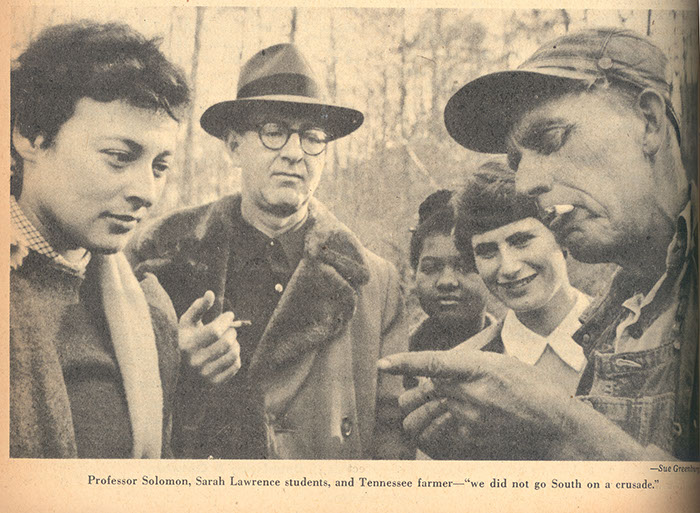 Students meet with Farmer Irwin, from Saturday Review, 1951.  Photograph by Sue Greenburg '53.