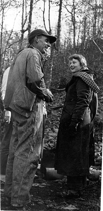 Judy Thompson '54 (right) with a coal miner in Tennessee, 1951, photographer unknown.