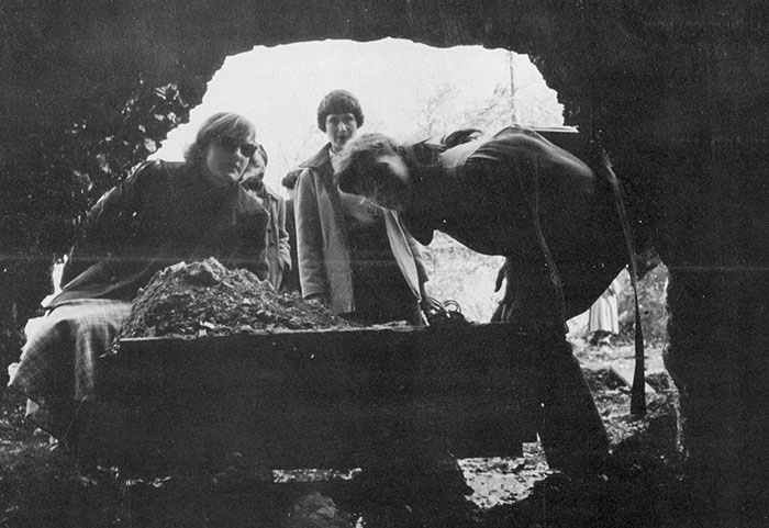 A family coal mine in the Cumberland Mountains. (l-r) Annie-Claude Durrback, Abby Weltchek, Maria Josephy.. (1952 Yearbook)