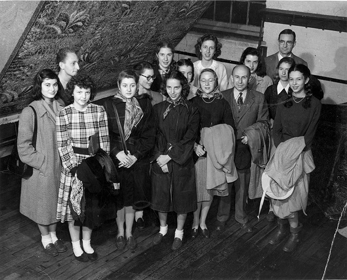 Students with Albert Lauterbach, 1954, photographer unknown.